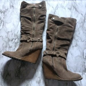 Bakers Tan Leather Boot Wedges